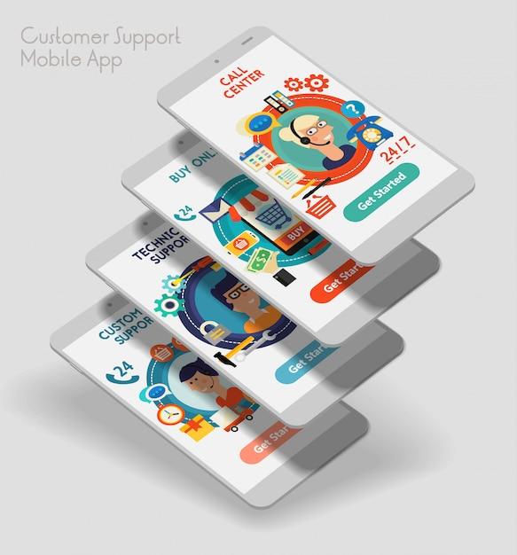 Application Mobile D'interface Utilisateur Réactive Au Design Plat Avec Des Maquettes 3d Vecteur Premium