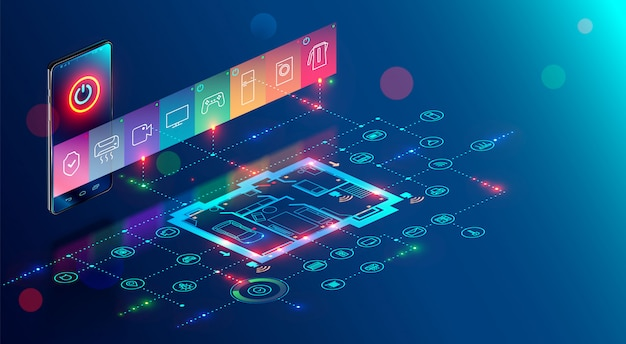 Application mobile de la maison intelligente contrôle internet des objets par téléphone Vecteur Premium