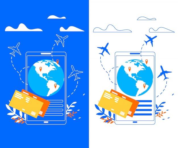Application mobile pour bannière vecteur plat voyageur Vecteur Premium