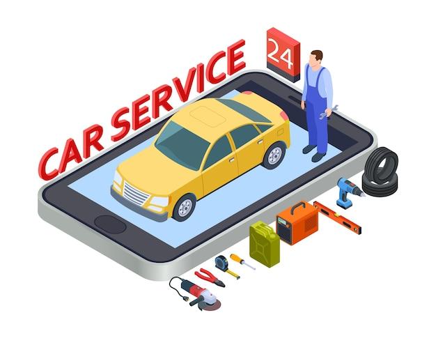 Application Mobile De Services Automobiles Vecteur Premium