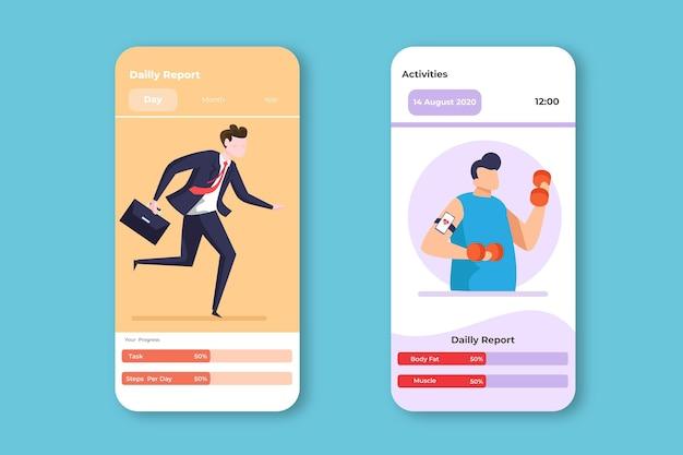 Application Mobile De Suivi Des Objectifs Et Des Habitudes De Travail Et D'entraînement Vecteur gratuit
