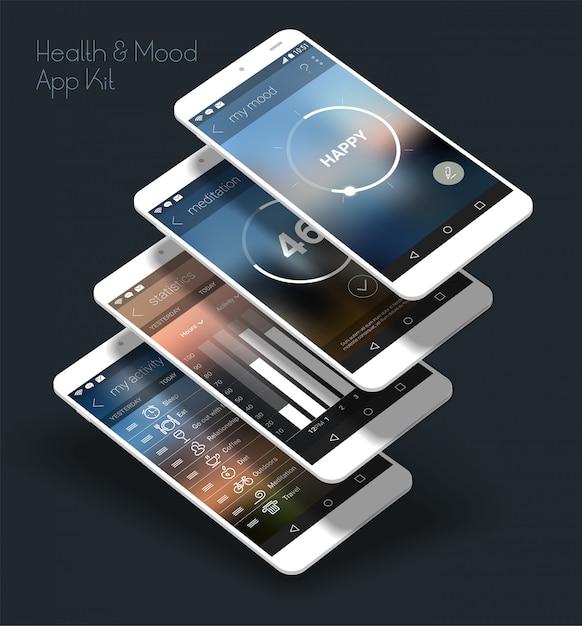 Application mobile ui responsive design plat avec maquettes 3d Vecteur Premium
