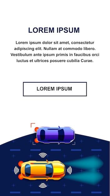 Application mobile de voiture autonome Vecteur Premium