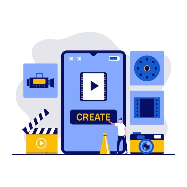 Application De Montage Vidéo Mobile, Production Multimédia, Concept De Blog Vidéo Avec Des Personnages. Les Gens Créent Un Film à L'aide D'un Smartphone. Vecteur Premium
