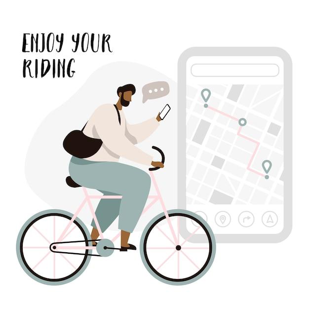 Application de navigation pour cyclistes avec épingles de carte et de localisation. suivi du concept d'application mobile pour cycliste. homme cycliste profitant de la circonscription. Vecteur Premium