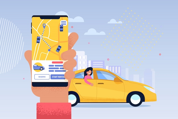 Application de service de taxi en ligne Vecteur Premium