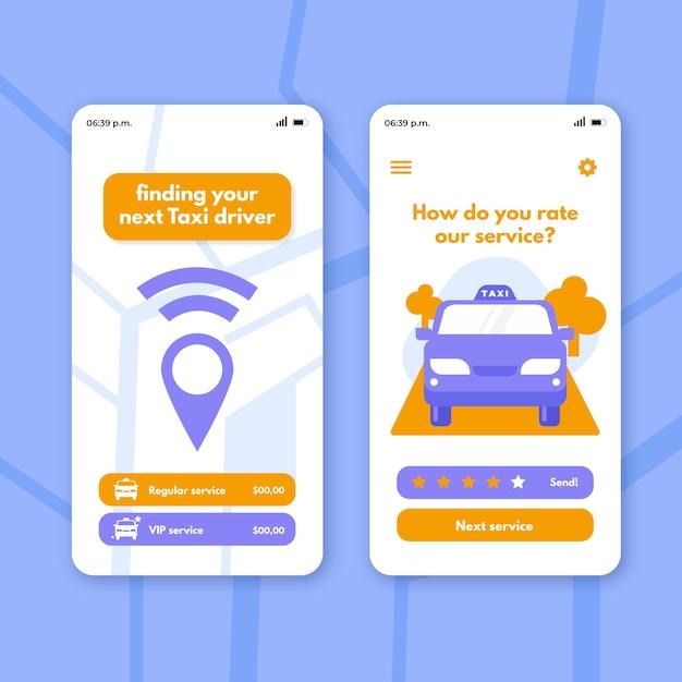 Application De Taxi Sur L'emplacement De Partage Du Smartphone Vecteur gratuit