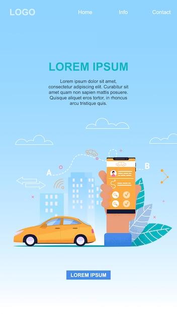 Application De Taxi En Ligne Application Mobile Technologie Et Réservation De Véhicules Pour Le Transfert De Passagers Vecteur Premium