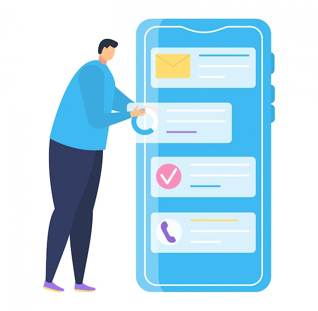 Application De Téléphone Mobile De Petit Homme Caractère, Infographie De Smartphone Stand Masculin Sur Blanc, Illustration. Vecteur Premium