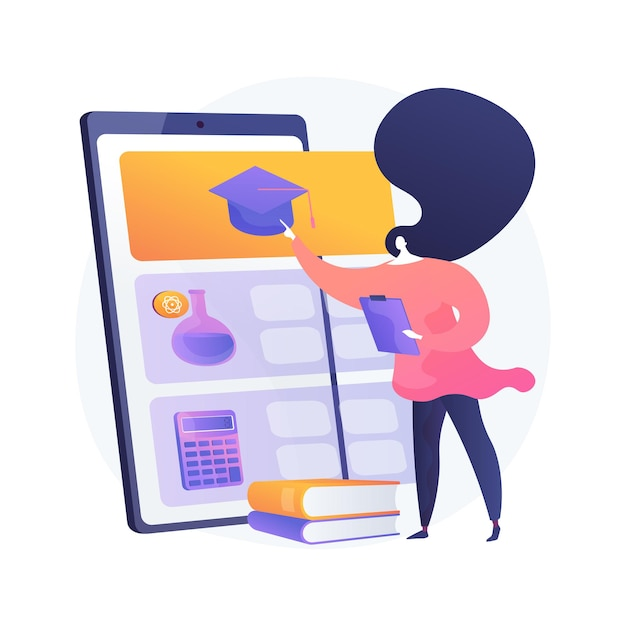 Application De Tutorat En Ligne Et Illustration De Concept Abstrait De Logiciel. Session De Tutorat En Ligne, Chat Vidéo, E-learning, Logiciel De Planification, Plan D'apprentissage Personnel Vecteur gratuit