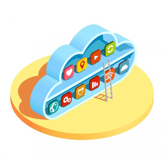 Applications de cloud computing isométriques Vecteur gratuit