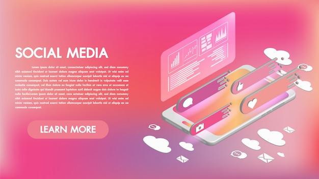 Applications de médias sociaux sur un smartphone 3d icônes isométriques Vecteur Premium