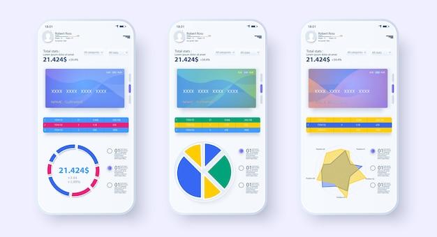 Applications Mobiles Bancaires En Ligne Ui, Ux, Gui. Modèle De Banque Mobile. Paiement En Ligne. écran De Paiement Vecteur Premium