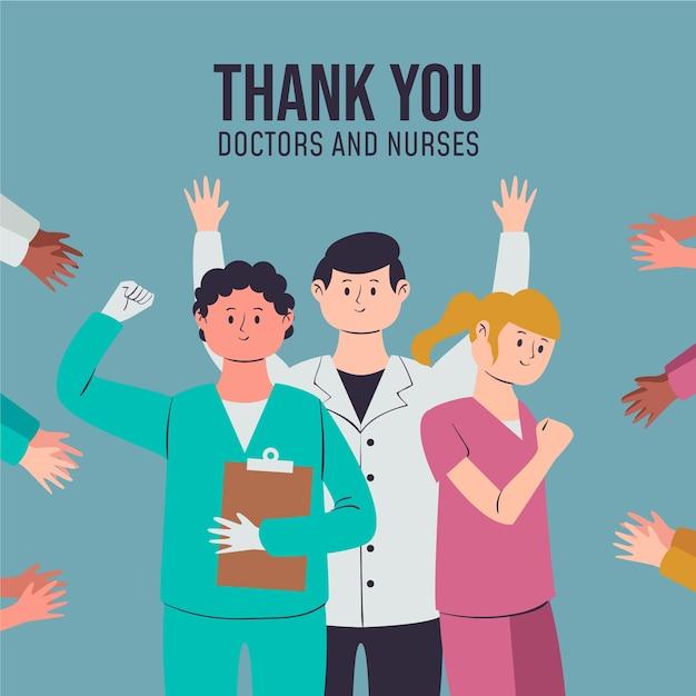 Appréciation Des Médecins Et Infirmières Vecteur gratuit