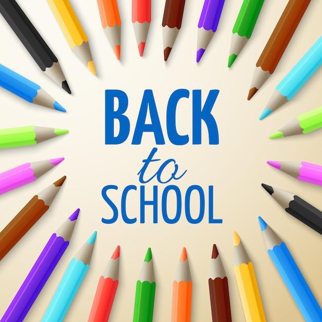 Apprentissage Et Concept De Vecteur D'éducation Scolaire. Retour Au Fond De L'école Avec Des Crayons De Couleur 3d Vecteur Premium