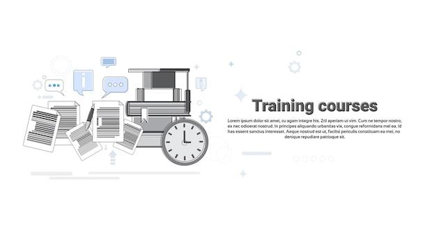 Apprentissage Des Cours De Formation Education Web Banner Vector Illustration Vecteur Premium