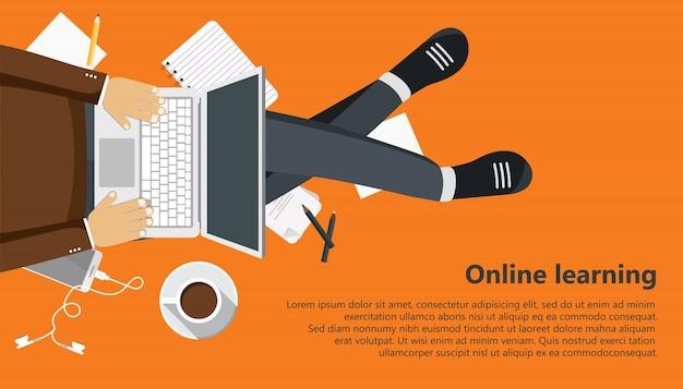 Apprentissage en ligne Vecteur gratuit