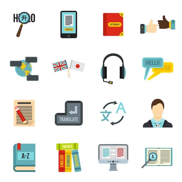 Apprentissage des icônes de langues étrangères Vecteur Premium