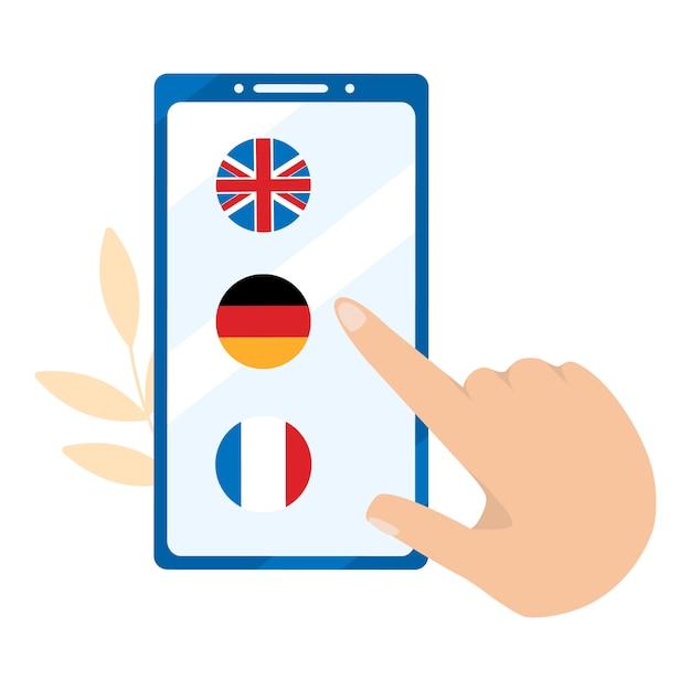 Apprentissage en ligne de langues étrangères. allemand, anglais, français Vecteur Premium