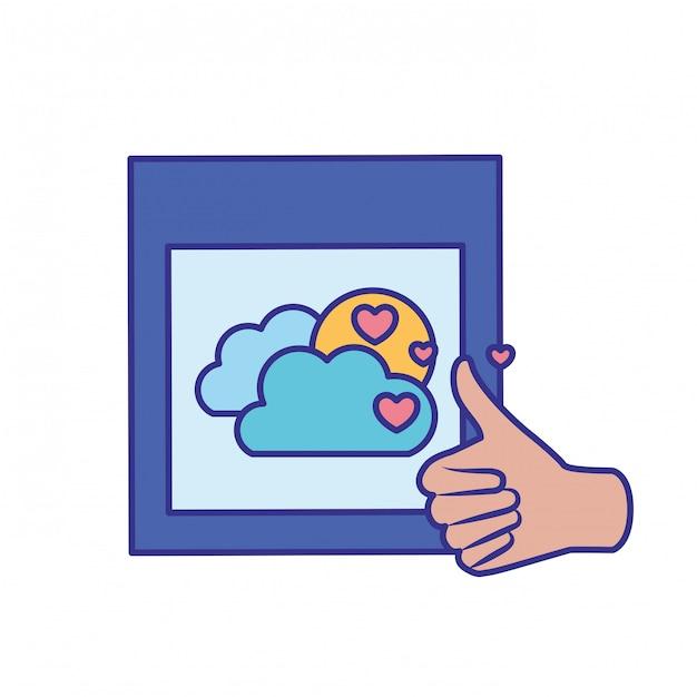 Approbation des mains avec icône isolé image Vecteur Premium