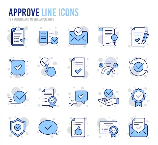 Approuver les icônes de ligne. ensemble de liste de contrôle, certificat et médaille. Vecteur Premium
