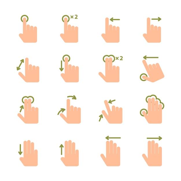 Appuyez sur écran main gestes icônes ensemble de pincée de glisser et appuyez sur illustration vectorielle isolé Vecteur Premium