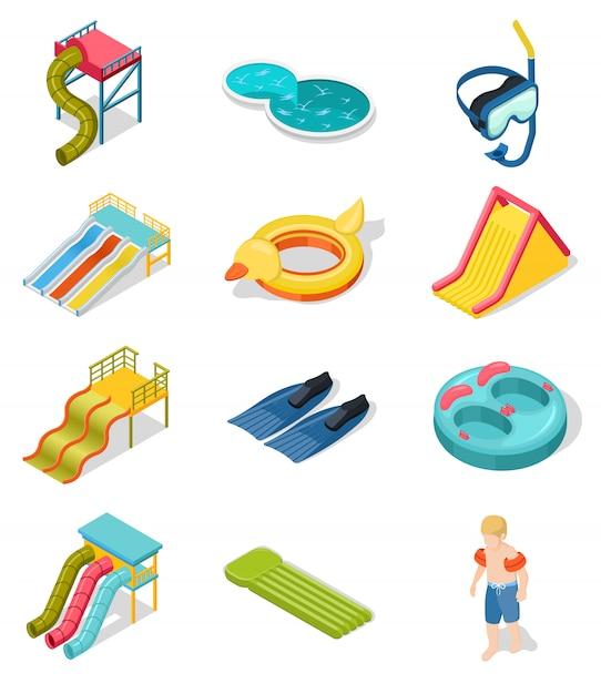 Aqua park isometric icon set Vecteur gratuit