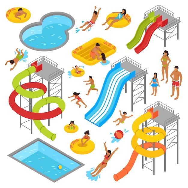Aqua park isometric icons set Vecteur Premium