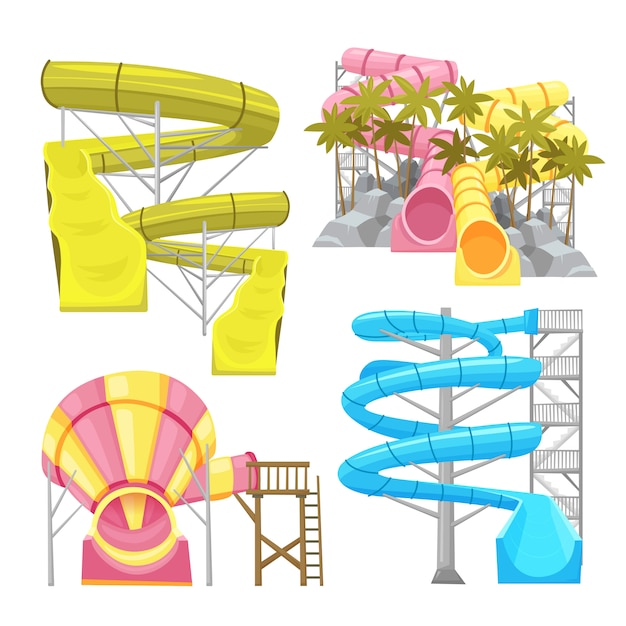 Aquapark equipments images set Vecteur gratuit