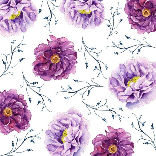 Aquarelle 2019 fond floral Vecteur Premium