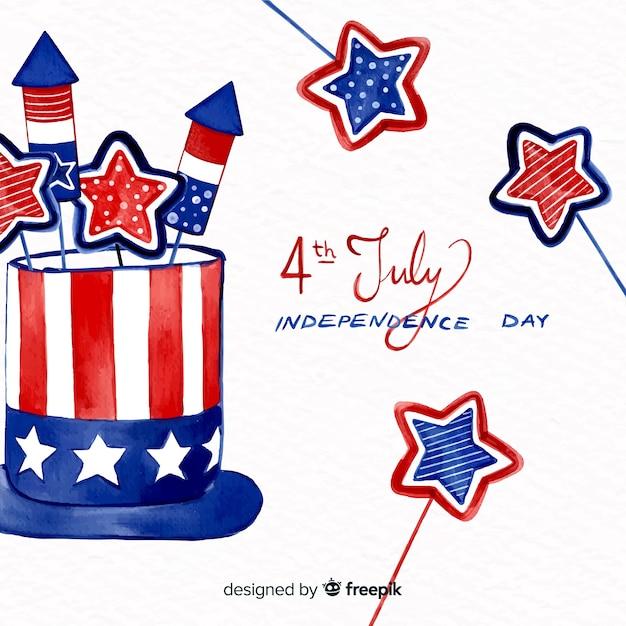 Aquarelle 4 juillet - fond de fête de l'indépendance Vecteur gratuit
