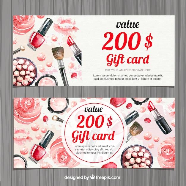 Aquarelle accessoires de beauté carte cadeau Vecteur gratuit