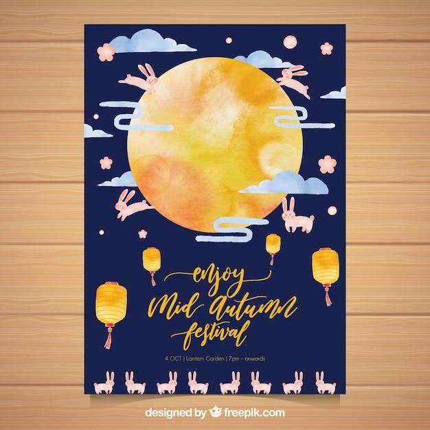 Aquarelle affiche asiatique de fête avec lune et lapins Vecteur gratuit