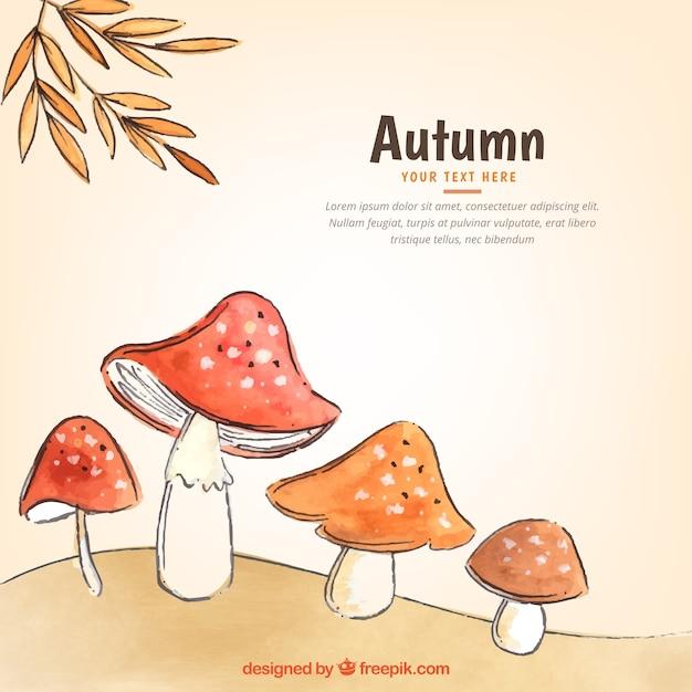Aquarelle à l'automne avec des champignons Vecteur gratuit