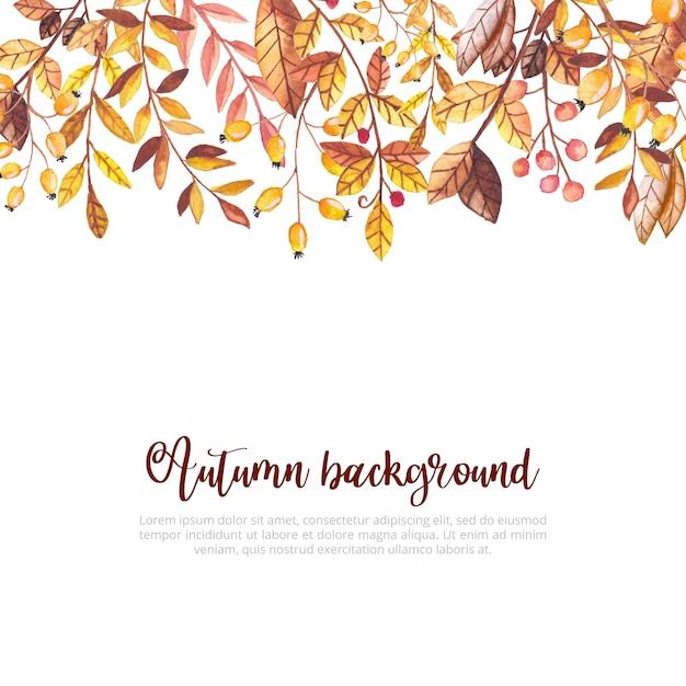 Aquarelle automne feuilles fond Vecteur Premium