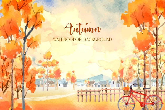 Aquarelle D'automne Avec De Nombreux Orangers Avec Un Vélo Rouge à L'avant. Vecteur Premium