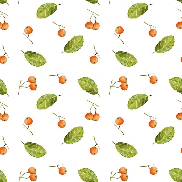 Aquarelle baies et feuilles seamless pattern Vecteur Premium
