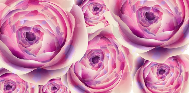 Aquarelle de bannière de fleurs d'été Vecteur Premium
