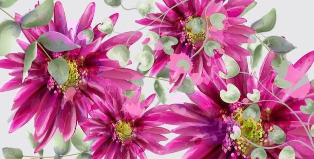 Aquarelle de bannière de fleurs de marguerite Vecteur Premium