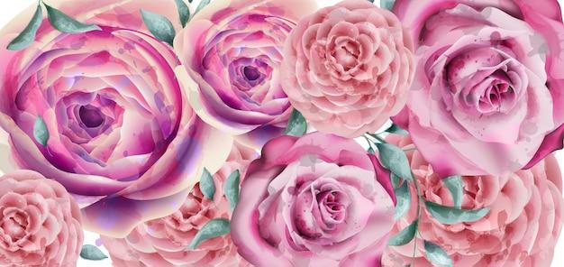 Aquarelle de bannière de fleurs de printemps Vecteur Premium
