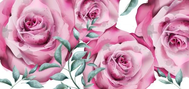 Aquarelle de bannière de fleurs rose délicate Vecteur Premium