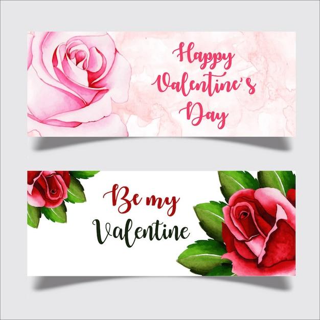 Aquarelle bannière valentine Vecteur Premium