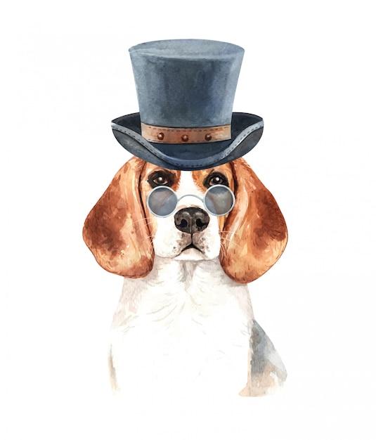 Aquarelle beagle avec lunettes de soleil et chapeau haut de forme. Vecteur Premium