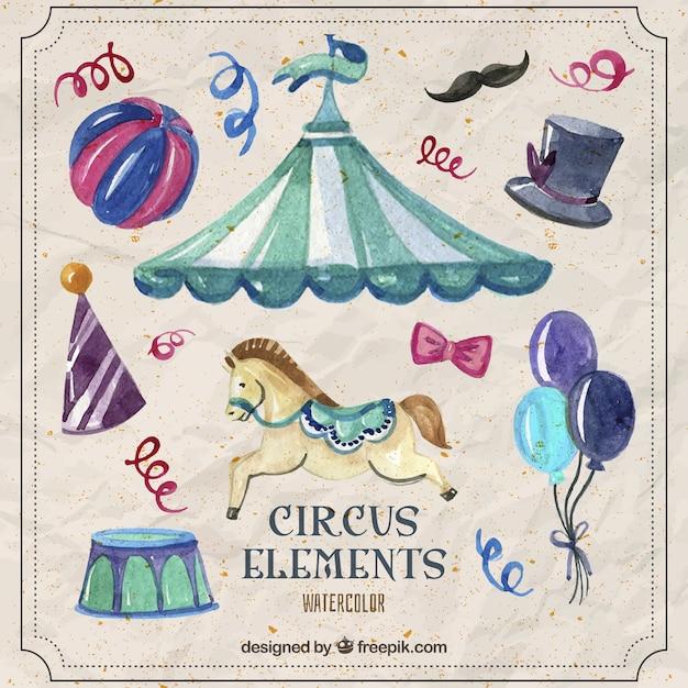 Aquarelle beaux éléments de cirque Vecteur gratuit