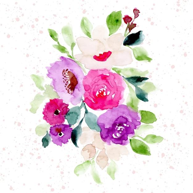 Aquarelle de belle composition florale Vecteur Premium