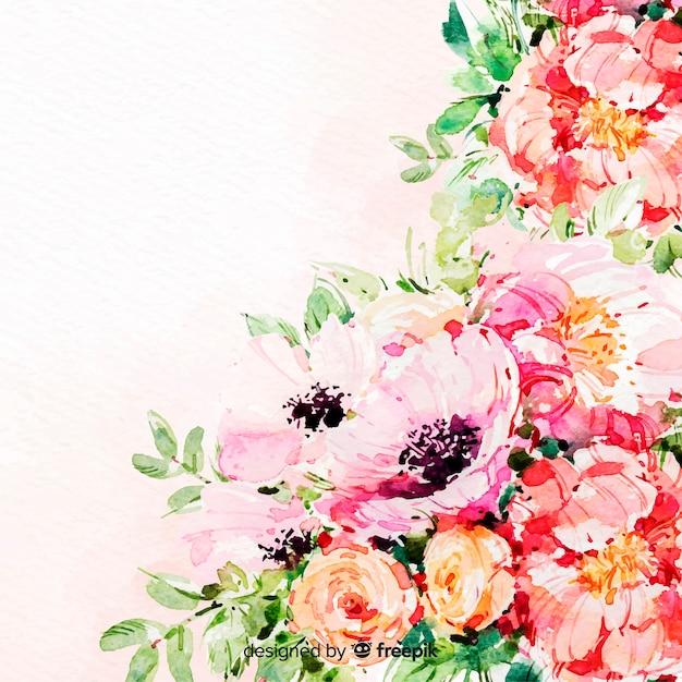Aquarelle de belles fleurs fond coloré Vecteur gratuit