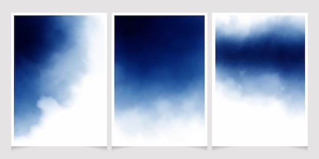 Aquarelle Bleu Foncé Pour Carte D'invitation De Mariage Vecteur Premium