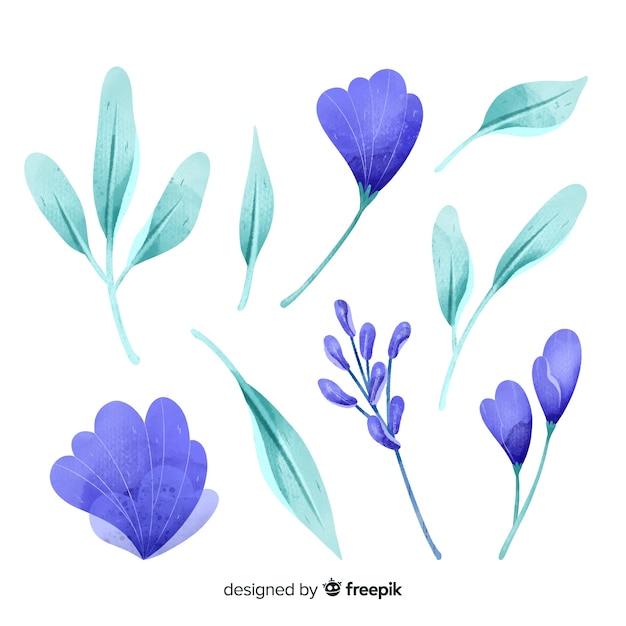 Aquarelle bleue fleurs et feuilles Vecteur gratuit