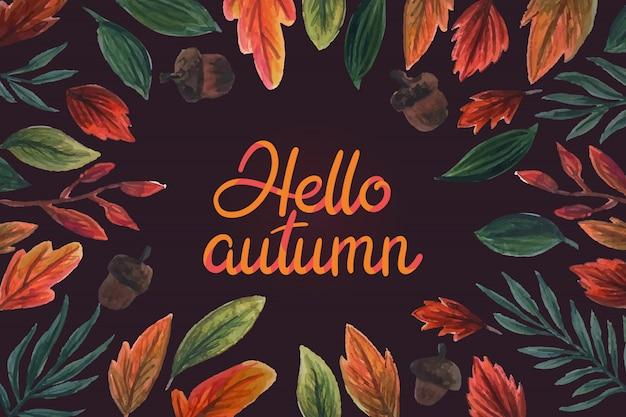 Aquarelle Bonjour Lettrage D'automne Vecteur gratuit