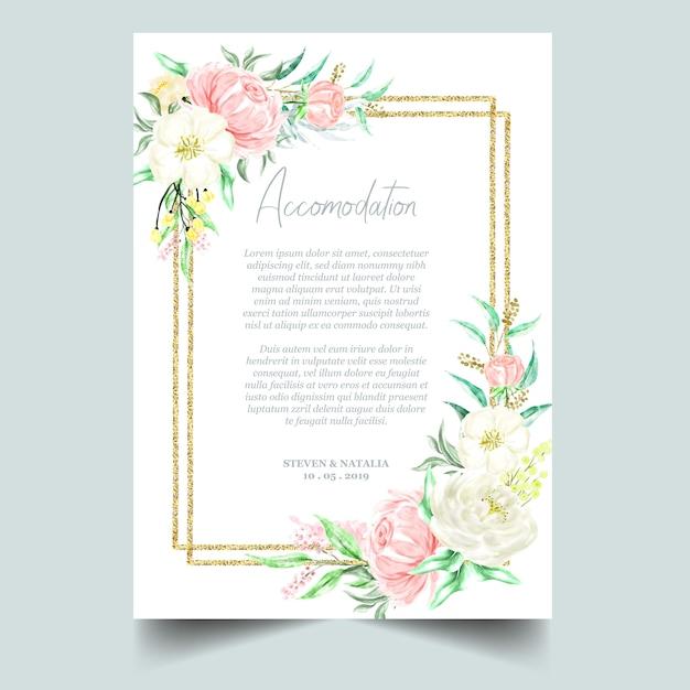 Aquarelle botanique or cadre floral et fond Vecteur Premium